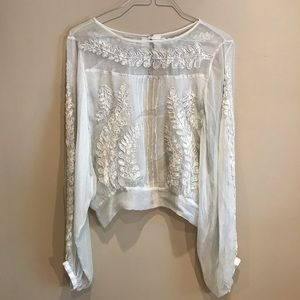 Free People Sheer Embroidered Long Sleeve Small